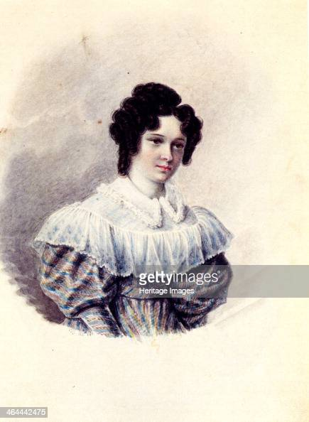 Portrait of Alexandra Ivanovna Davydova wife of Decembrist Vasily Davydov 18301839 Found in the collection of the Russian State Library Moscow