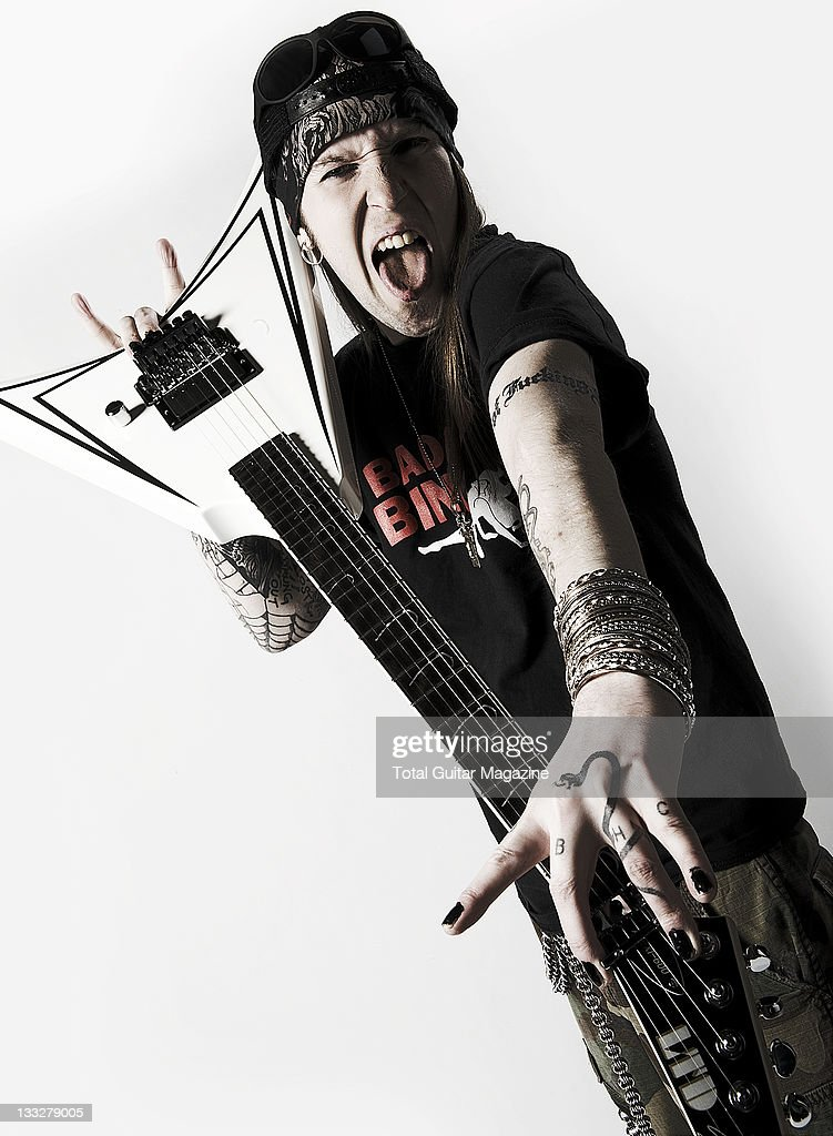 Portrait of Alexi Laiho frontman of Finnish metal group Children Of Bodom taken on December 7 2010 in London Laiho is posing with his signature LTD...