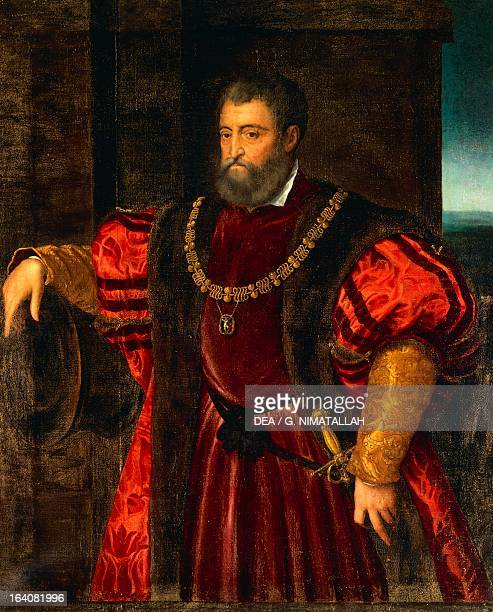 Portrait of Alfonso d'Este Duke of Ferrara Modena and Reggio Copy by Dosso Dossi from a painting by Tiziano Florence Palazzo Pitti Galleria Palatina