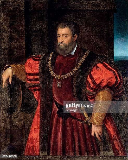 Portrait of Alfonso d'Este duke of Ferrara shown wearing the collar of the Order of Saint Michael Anonymous painter 154x123 cm Florence Galleria...