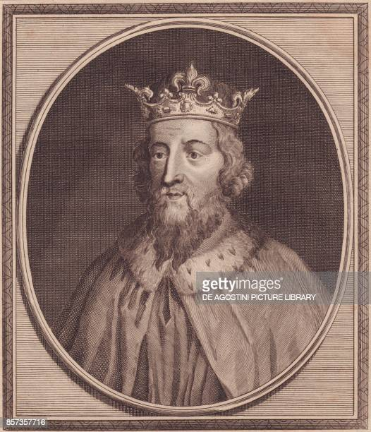 Portrait of Alfred the Great King of Wessex United Kingdom copper engraving by John Goldar 19x16 cm from History of England by Paul de Rapin...