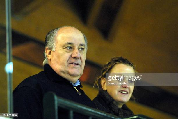 Portrait of Amancio Ortega Inditex Group president with his wife Flori Perez