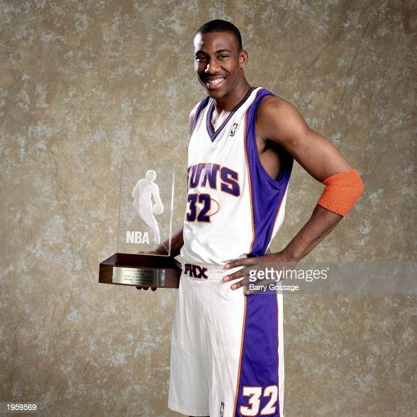 Portrait of Amare Stoudemire of the Phoenix Suns with the 2003 Got Milk Rookie of the Year trophy on April 25 2003 in Phoenix Arizona NOTE TO USER...
