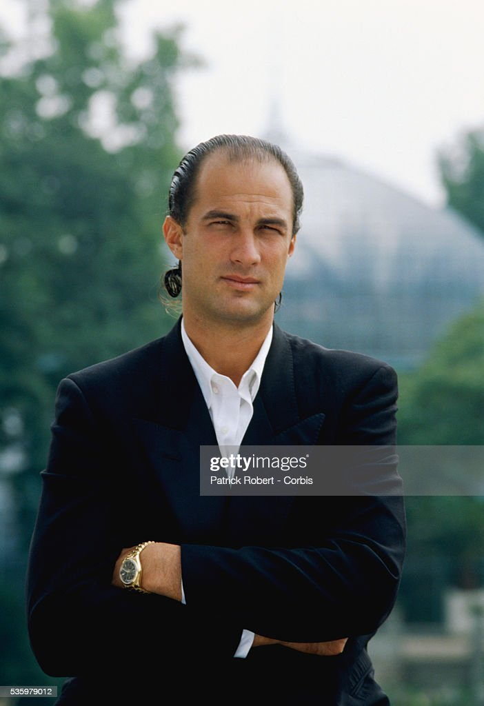Portrait of American actor and producer Steven Seagal in 1988.