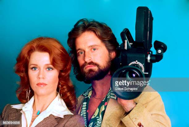 Portrait of American actors Jane Fonda and Michael Douglas as they pose in costume for the film 'The China Syndrome' Los Angeles California 1978