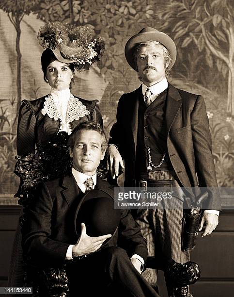 Portrait of American actors Paul Newman Katherine Ross and Robert Redford in costume for their film 'Butch Cassidy and the Sundance Kid' Cuernavaca...