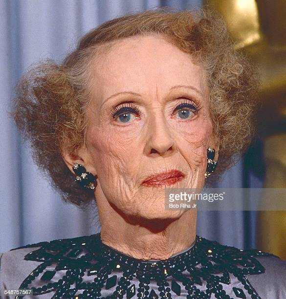 Portrait of American actress Bette Davis as she poses backstage at the Academy Awards Los Angeles California March 30 1987