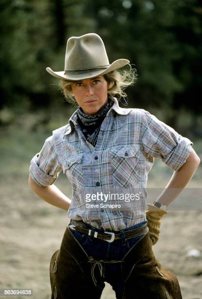 Portrait of American actress Jane Fonda as she poses in costume on the set of the film 'Comes a Horseman' Arizona 1977
