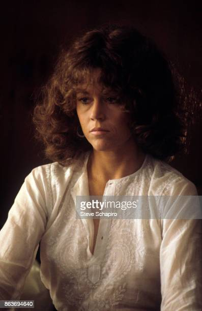 Portrait of American actress Jane Fonda in costume on the set of the film 'Coming Home' Santa Monica California 1977