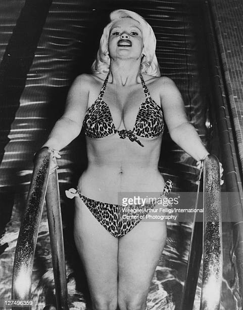 Portrait of American actress Jayne Mansfield as she holds onto a swimming pool ladder dressed in a leopardprint bikini 1950s Photo by...