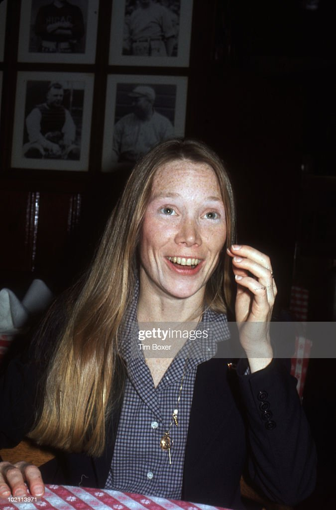 Portrait of American actress Sissy Spacek as she attends an unspecified event at Gallagher's Steak House, New York, New York, April 7, 1977.