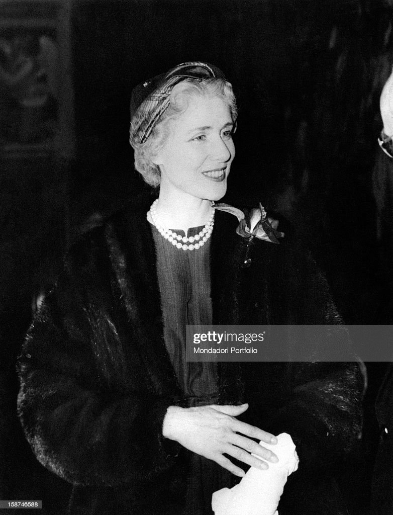 Portrait of American ambassadress in Italy <a gi-track='captionPersonalityLinkClicked' href=/galleries/search?phrase=Clare+Boothe+Luce&family=editorial&specificpeople=212742 ng-click='$event.stopPropagation()'>Clare Boothe Luce</a> smiling. March 1956