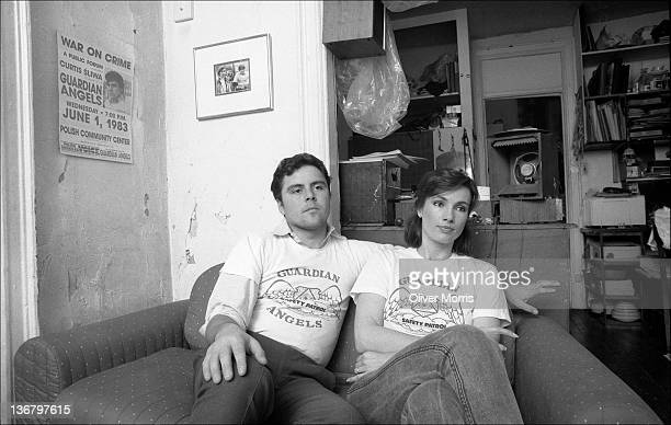 Portrait of American anticrime activist and founder of the Guardian Angels Curtis Sliwa and his wife and fellow Guardian Angel Lisa Sliwa on a couch...