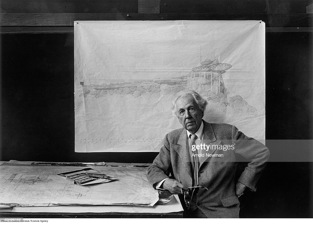 Portrait of American architect <a gi-track='captionPersonalityLinkClicked' href=/galleries/search?phrase=Frank+Lloyd+Wright&family=editorial&specificpeople=90880 ng-click='$event.stopPropagation()'>Frank Lloyd Wright</a> at Taliesin East October 13, 1947 in Spring Green, Wisconsin. Wright is considered to be one of the most radical and innovative architects of the 20th century. His most famous structures are 'Falling Water' and the 'Guggenheim Museum.'