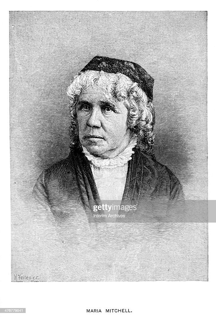 Portrait of American astronomer Maria Mitchell (1818 - 1889), late nineteenth century. Mitchell, the first American female professional astronomer, was also the first person (of any gender) appointed professor by Vassar College.
