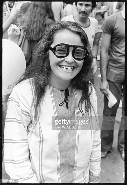 Portrait of American author and activist Kate Millett as she smiles during the Gay Pride March New York New York June 27 1971