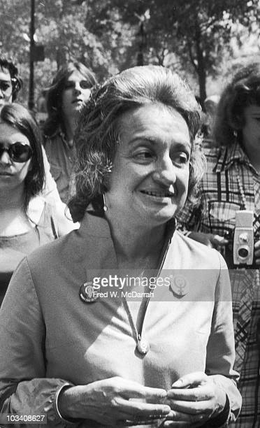 Portrait of American author and women's rights activist Betty Friedan as she participates in a march along 5th Avenue to commemorate the 50th...