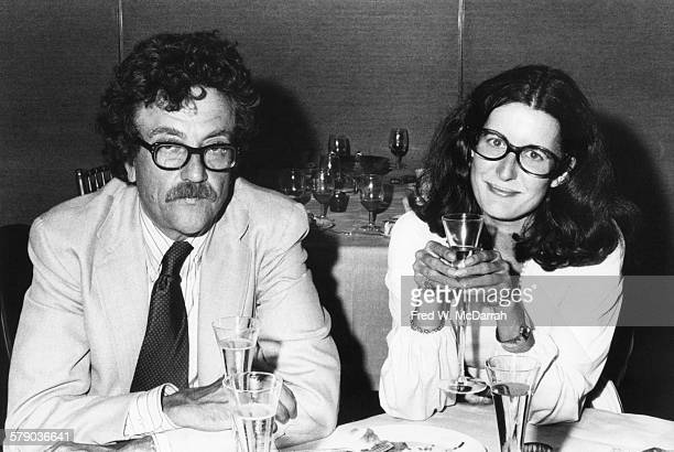 Portrait of American author Kurt Vonnegut Jr and photographer Jill Krementz as they attend a prerelease party for the film 'La Grande Bouffe' New...