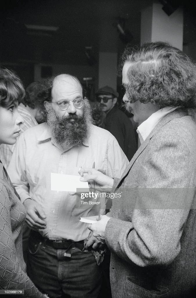 Portrait of American author, musician, and activist Ed Sanders (right) speaks with poet and activist <a gi-track='captionPersonalityLinkClicked' href=/galleries/search?phrase=Allen+Ginsberg&family=editorial&specificpeople=211141 ng-click='$event.stopPropagation()'>Allen Ginsberg</a> (1926 - 1997) at a party to celebrate the publication of Sanders' book, 'Tales of Beatnik Glory,' at the Locale (on Waverly Place), New York, New York, October 23, 1970.