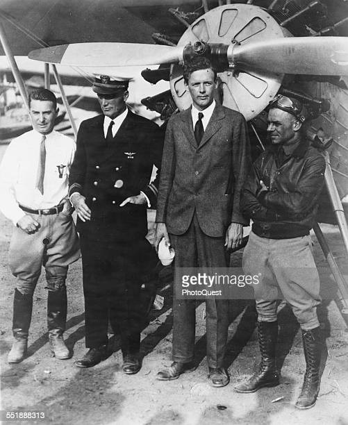 Portrait of American aviators from left Lt Jimmy Doolittle Colonel Charles Lindbergh Lt Alford Williams and Director of the 1929 National Air Races...