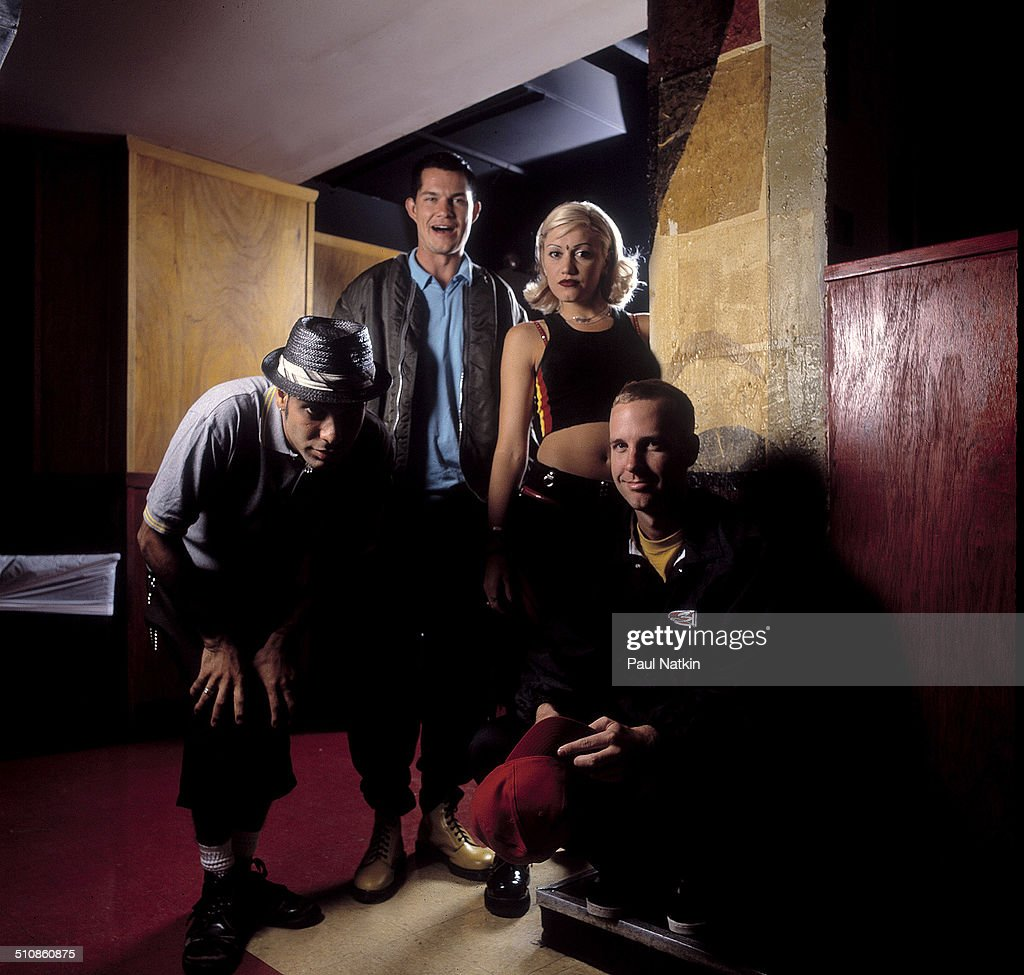 Portrait of American band No Doubt as they pose backstage at the Metro nightclub Chicago Illinois August 9 1996 Pictured are from left Tony Karal...