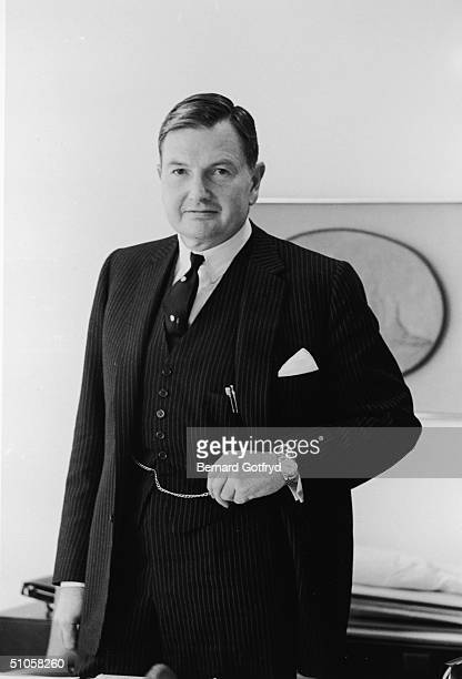 Portrait of American banker and philanthropist David Rockefeller dressed in a pinstriped threepiece suit 1967