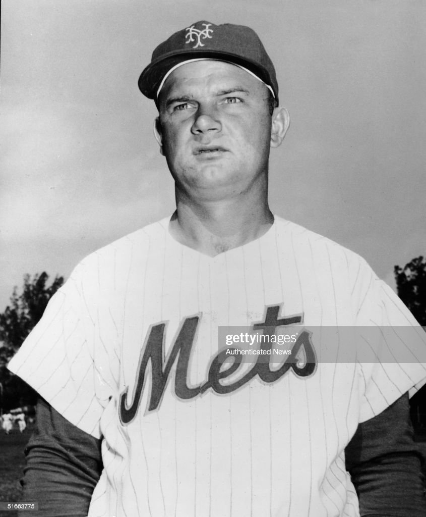 Portrait of American baseball player <a gi-track='captionPersonalityLinkClicked' href=/galleries/search?phrase=Don+Zimmer&family=editorial&specificpeople=215376 ng-click='$event.stopPropagation()'>Don Zimmer</a> in the uniform of the New York Mets, 1962.