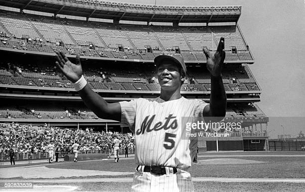Portrait of American baseball player Joe Foy of the New York Mets as he stands on the field in Shea Stadium New York New York August 22 1970