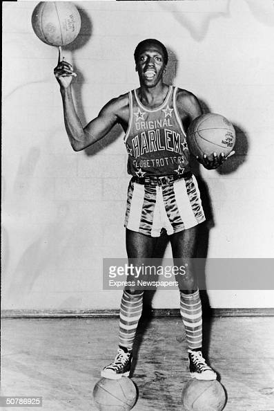 Portrait of American basketball player Meadowlark Lemon of the Harlem Globetrotters balancing a basketball on his finger May 15 1968