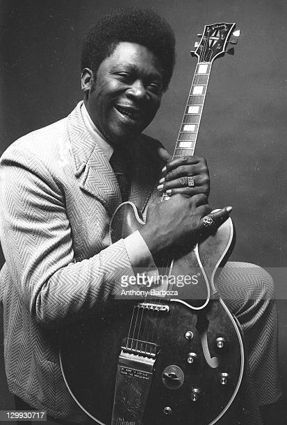 Portrait of American blues musician BB King as he poses with his guitar New York New York 1971