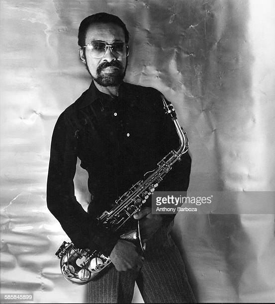 Portrait of American Blues musician Hank Crawford as he poses with his saxophone New York 1978