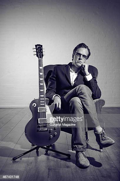 Portrait of American blues rock musician Joe Bonamassa photographed with a vintage 1952 Gibson Les Paul at John Henry's rehearsal space in London on...