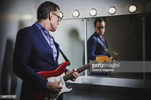 Portrait of American blues rock musician Joe Bonamassa photographed before a live performance at Plymouth Pavilions in Devon on March 21 2016