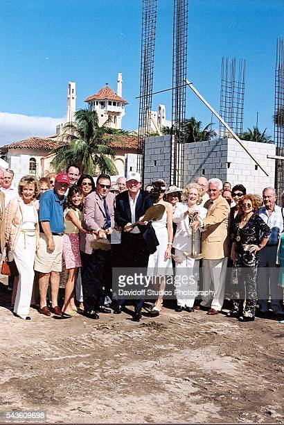 Portrait of American businessman Donald Trump with a shovel and unidentified others during the groundbreaking ceremony for the construction of the...