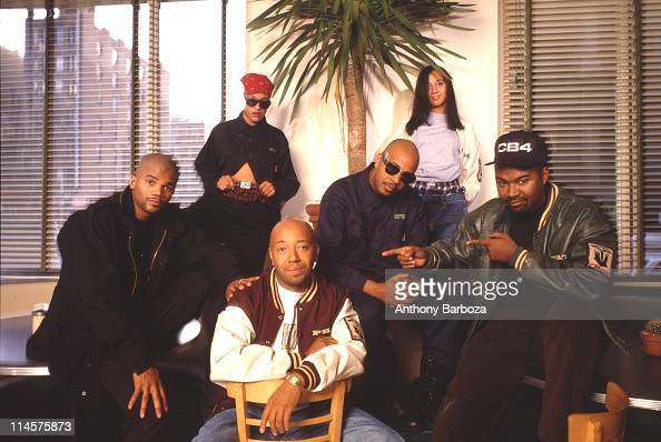 Portrait of American businessman Russell Simmons New York New York 1990s With him are Darryl McDaniels and Joseph Simmons both members of pioneering...