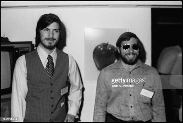 Portrait of American businessmen and engineers Steve Jobs and Steve Wozniak cofounders of Apple Computer Inc at the first West Coast Computer Faire...