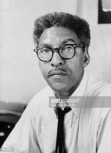 Portrait of American civil rights activist Bayard Rustin deputy director of the March on Washington in his office at 100 West 113th Street New York...
