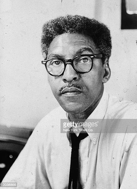 Portrait of American civil rights activist Bayard Rustin in his office at 100 W 113th Street New York City March 3 1963
