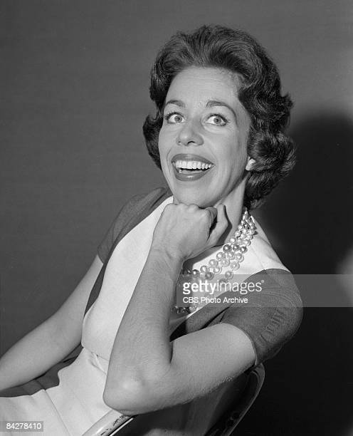 Portrait of American commedienne Carol Burnett as she smiles broadly with her hand on her chin backstage at 'The Garry Moore Show' New York New York...