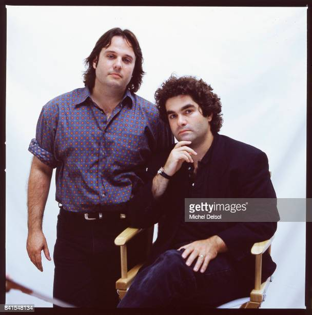 Portrait of American documentary film directors Bruce Sinofsky and Joe Berlinger as they pose against a white background New York New York September...