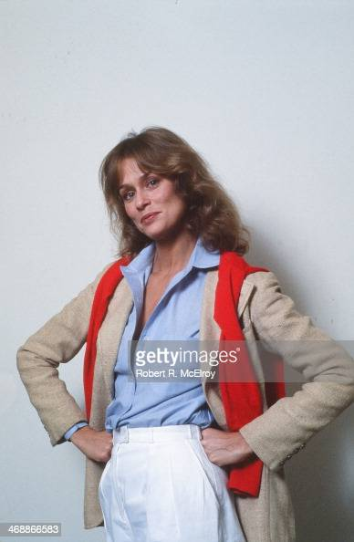 Portrait of American fashion model and actress Lauren Hutton as she poses against a white background New York New York April 6 1977