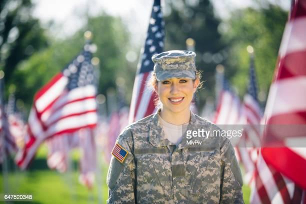 Portrait of American female soldier
