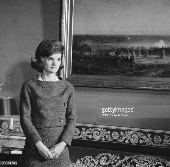 Portrait of American First Lady Jacqueline Kennedy in the Red Room of the White House Washington DC January 15 1962 During the filming of a CBS News...