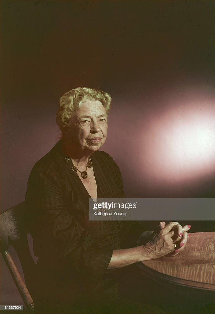 Portrait of American former First Lady and US Diplomat <a gi-track='captionPersonalityLinkClicked' href=/galleries/search?phrase=Eleanor+Roosevelt&family=editorial&specificpeople=93348 ng-click='$event.stopPropagation()'>Eleanor Roosevelt</a> (1884 - 1962), 1957.