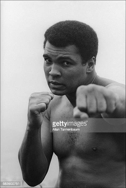 Portrait of American heavyweight boxer Muhammad Ali after a workout at his training camp Deer Lake Pennsylvania September 22 1977