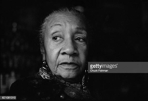 Portrait of American Jazz and Blues musician Alberta Hunter at Elaine's bar and restaurant New York New York November 1977