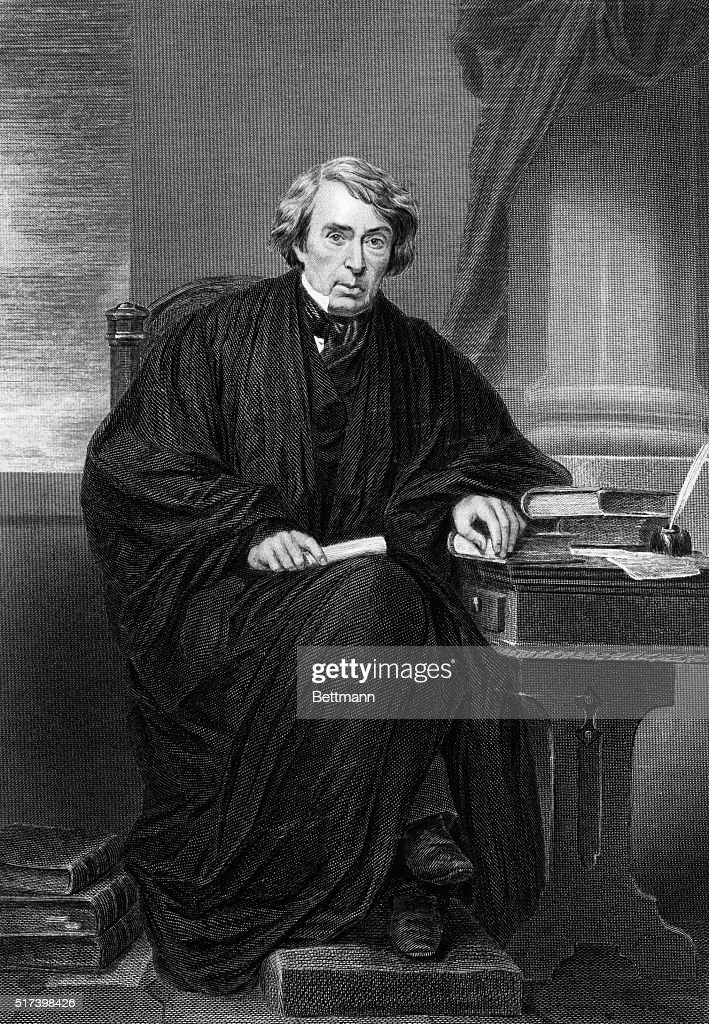 Portrait of American jurist Roger Brooke Taney He is shown seated wearing his judicial robes Undated engraving