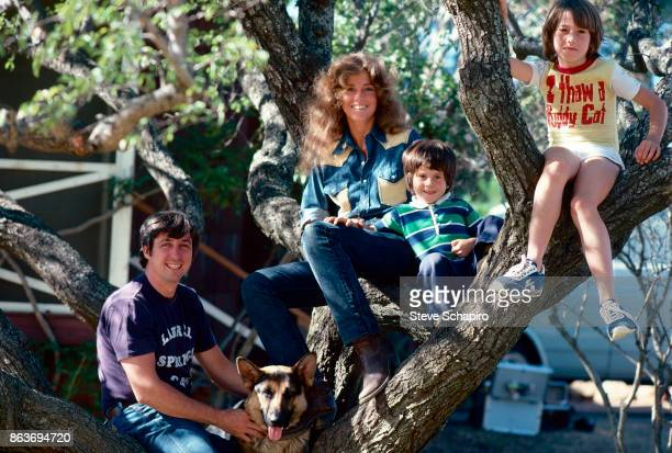 Portrait of American married couple politician activist Tom Hayden and actress Jane Fonda and their children Troy Garity and Vanessa Vadim as they...
