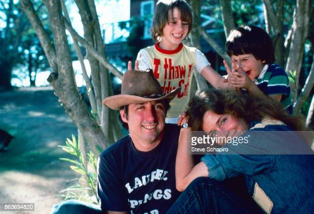 Portrait of American married couple politician activist Tom Hayden and actress Jane Fonda and their children Vanessa Vadim and Troy Garity as they...