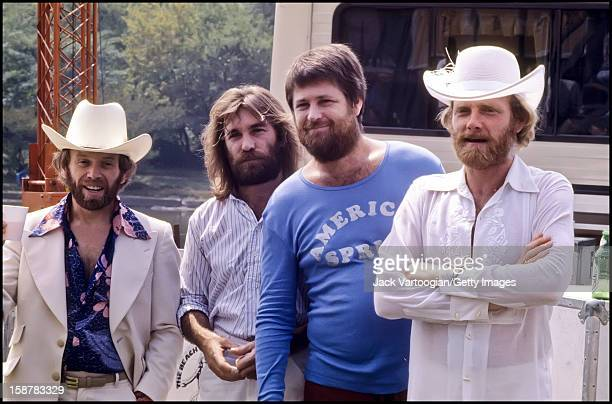 Portrait of American musical group The Beach Boys prior to a performance at a free concert on the Great Lawn of Central Park New York New York...